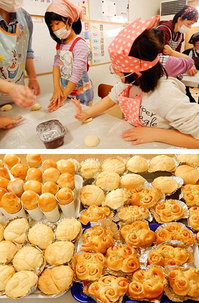 パン作りレクの様子